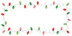 Vector Retro Colorful Holiday Christmas and New Year Intertwined String Lights Rectangular Frame on White Background. Winter Holiday Circular Decorative Element Perfect for Invitations, Postcards