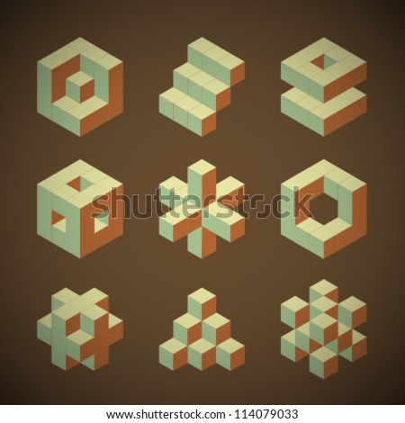 Vector Retro Cube Icons Set