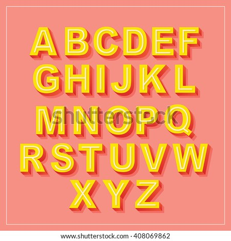 Vector Retro 3D Font with shadow. Vintage Alphabet on pink background Set
