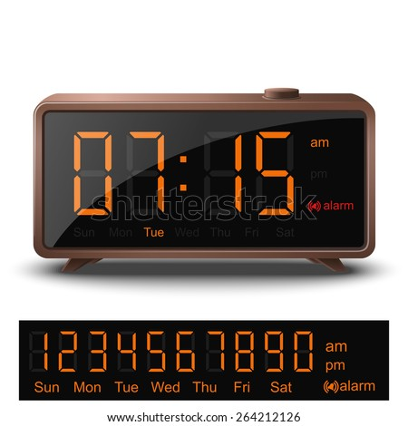 Vector retro digital alarm clock with orange numbers isolated on white background