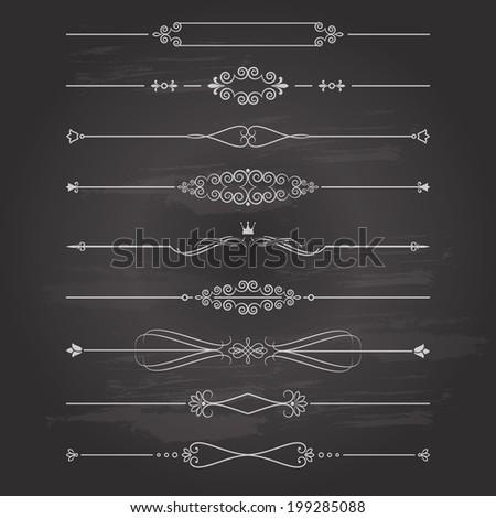 Vector retro divider set on chalkboard background. Calligraphic design elements.