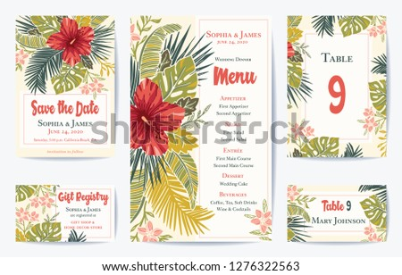 Vector Retro Floral Exotic Tropical Wedding Save the Date, Menu Card Set. See portfolio for matching invitation set #1276322563