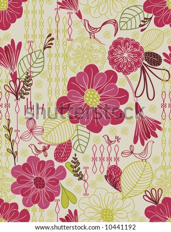 Vector Retro Floral Pattern seamless