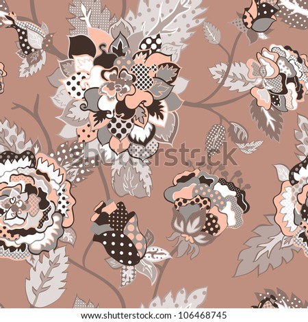 Vector retro floral seamless pattern.
