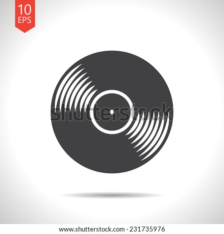 Vector retro gray vinyl record icon. Eps10