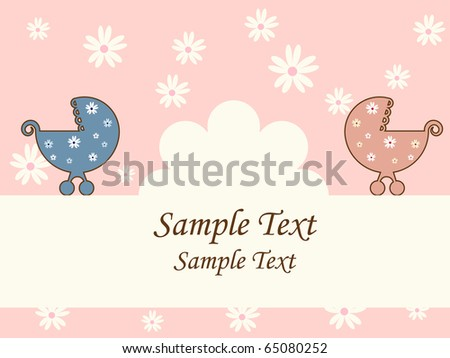 Vector retro greeting card for baby shower. RGB