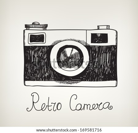 vector retro hand drawn hipster photo camera isolated, hand drawn doodle style