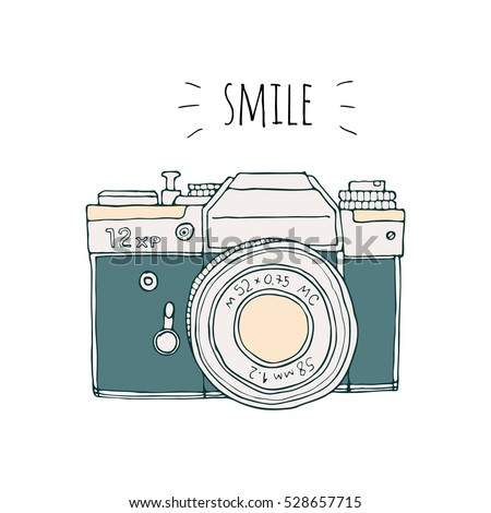 Vector retro hand drawn hipster photo camera isolated on white background. Vintage illustration for design, print for t-shirt, poster, card. Smile.