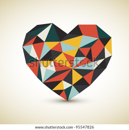 Vector retro heart made from color triangles