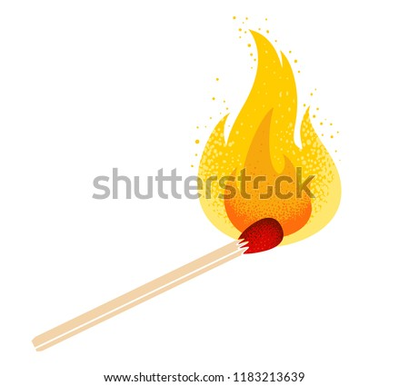 Vector retro illustration of a match with fire. Vintage icon of match with flame