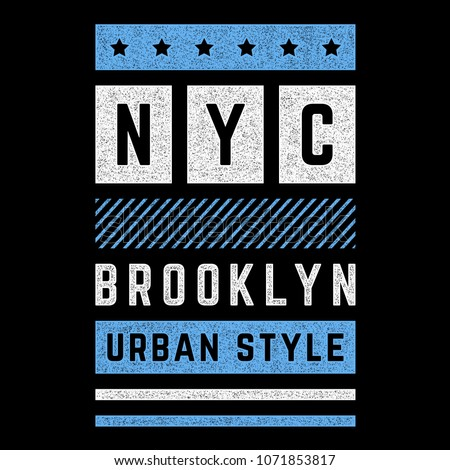 Vector retro illustration on the theme of Brooklyn. Urban style. Stylized vintage blue grunge typography, banner, flyer, postcard, t-shirt graphics, poster, print.