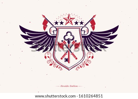 Vector retro insignia design decorated using vintage elements like armory and eagle wings