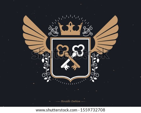 Vector retro insignia design decorated with eagle wings and made using vintage elements like royal crown and security keys crossed