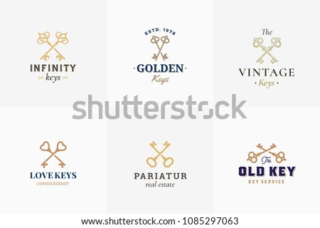 Vector Retro Key Emblems Set. Abstract Vector Signs, Symbols or Logo Templates. Different Crossed Keys Sillhouettes with Classy Vintage Typography. Isolated.