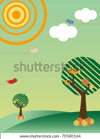 Vector - Retro Landscape with Trees and Birds Season Spring
