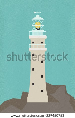Vector retro looking natural white lighthouse on rock flat illustration with weathered canvas texture effect
