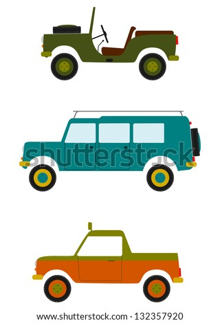 vector retro off road vehicles