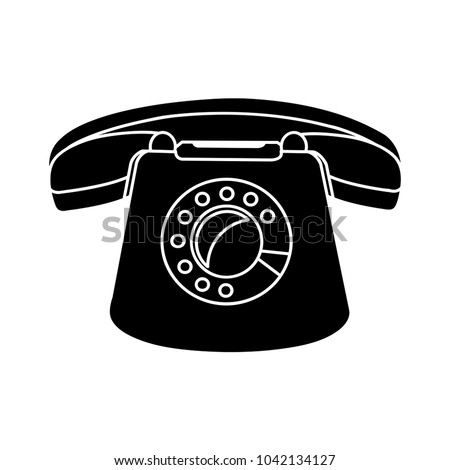 vector retro old phone icon - telephone illustration - communication symbol - contact sign