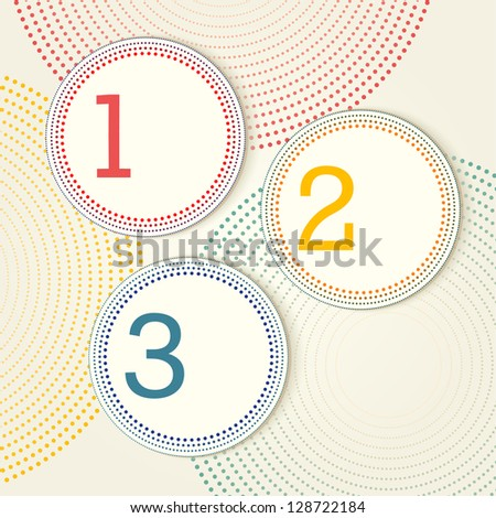Vector retro options with dotted circles - one, two, three