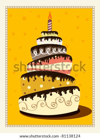 Vector retro picture with birthday cake