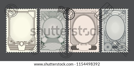 Vector Retro Postage Stamps Backgrounds Foto stock ©