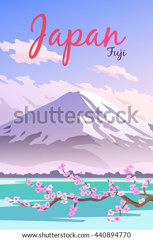 vector retro poster mount fuji
