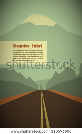 Vector Retro Road With Mountain and Forrest