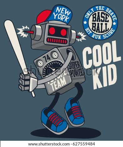 vector retro robot  baseball