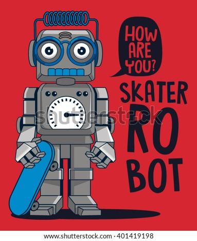 vector retro robot on