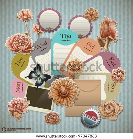 Vector Retro Scrapbook Element for Gardening Diary