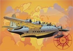Vector retro seaplane.