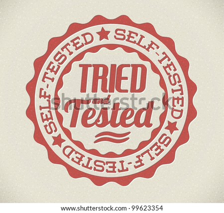 Vector retro self tried and tested red detailed stamp