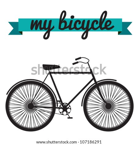 Vector retro style bicycle illustration with ribbon text