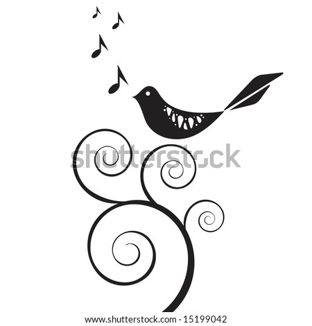 Vector retro style bird singing on swirly vine