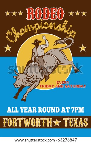 vector retro style illustration of a Poster showing an American  Rodeo Cowboy riding  a bull bucking jumping with sun in background and words