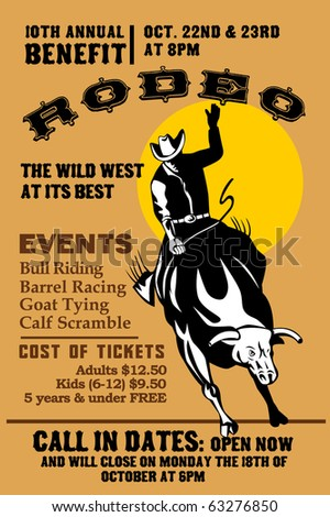"vector retro style illustration of a Poster showing an American  Rodeo Cowboy riding  a bull bucking jumping with sun in background and words  ""Annual Benefit Rodeo """