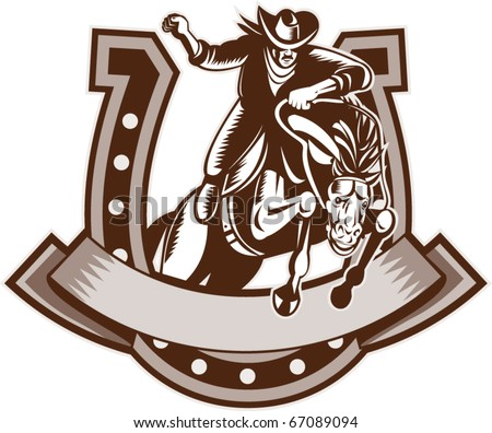 vector retro style illustration of a Rodeo Cowboy riding  a jumping bronco horse jumping with horseshoe in background and scroll in foreground done in woodcut.