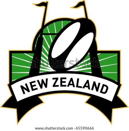 vector retro style illustration of a rugby ball and goal post inside rectangle with words new zealand