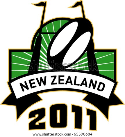vector retro style illustration of a rugby ball and goal post inside rectangle with words new zealand 2011