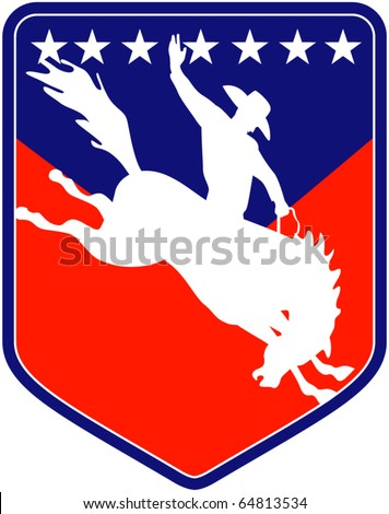 vector retro style illustration of a silhouette of an American  Rodeo Cowboy riding  a bucking bronco horse jumping viewed from side inside shield with stars