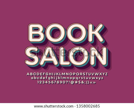 Vector retro style logo Book Salon with Font. Vintage isometric Alphabet Letters, Numbers and Symbols #1358002685