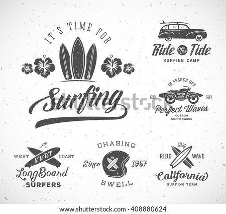 vector retro style surfing