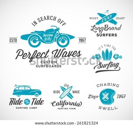 vector retro style surfing