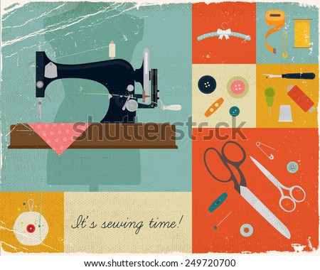 Vector retro style wall art printable decorative poster on hand craft, sewing and stitching with vintage sewing machine and craft supplies, buttons, scissors and needles