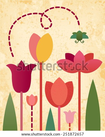 Vector retro stylized red tulips spring flowers flying beetle