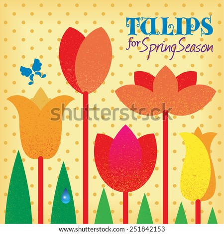 Vector retro stylized red tulips, spring flowers on polka dot background