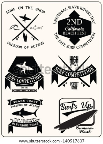 vector retro surf label set