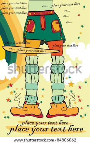 vector retro teenager fashion illustration with shoes, shorts, socks and old paper with stars and clouds