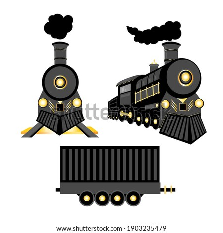 Vector retro train. Black locomotive and freight car with gold details isolated on a white background Photo stock ©