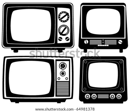 vector retro tv set